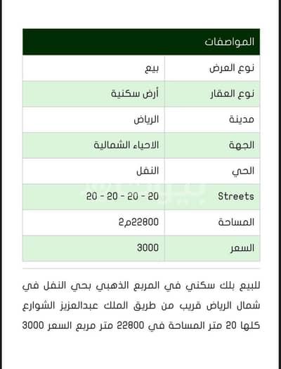 Residential Land for Sale in Riyadh, Riyadh Region - Residential block for sale in Al Nafal, North Riyadh