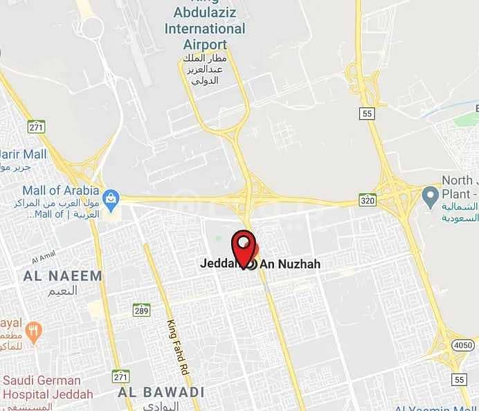 أرض تجارية للبيع على 4 شوارع في حي النزهة - شمال جدة