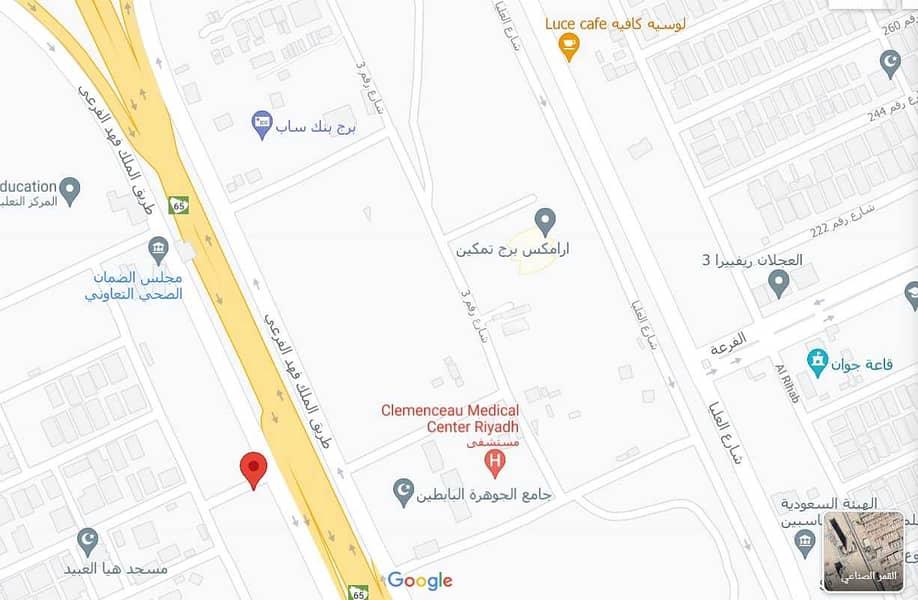 ارض تجارية للبيع على طريق الملك فهد بحي الملقا، الرياض